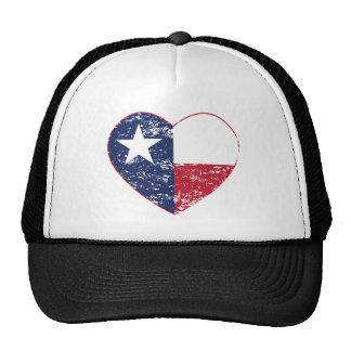 Corazón de la bandera de Tejas apenado Gorros Bordados