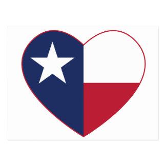 Corazón de la bandera de Tejas Tarjetas Postales