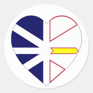 Corazón de la bandera de Terranova Pegatina Redonda