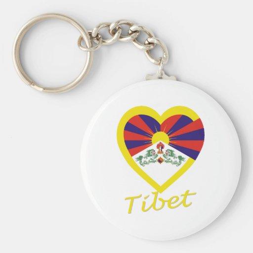 Corazón de la bandera de Tíbet Llavero Personalizado
