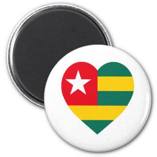 Corazón de la bandera de Togo Imán De Nevera