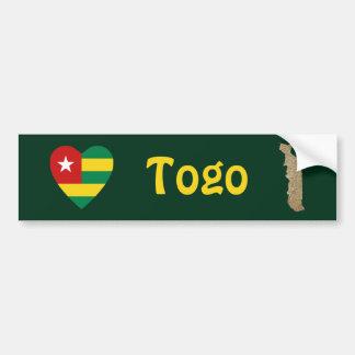 Corazón de la bandera de Togo + Pegatina para el p Pegatina Para Auto