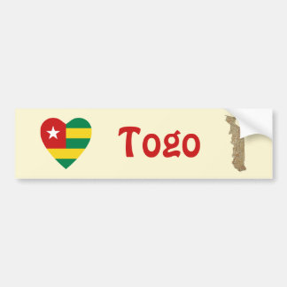 Corazón de la bandera de Togo + Pegatina para el p Etiqueta De Parachoque