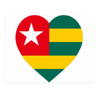 Corazón de la bandera de Togo Tarjetas Postales