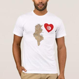 Corazón de la bandera de Túnez y camiseta del mapa