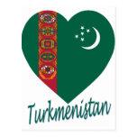 Corazón de la bandera de Turkmenistán Tarjeta Postal