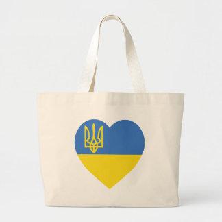 Corazón de la bandera de Ucrania Bolsa Tela Grande