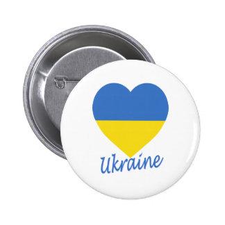 Corazón de la bandera de Ucrania Pins