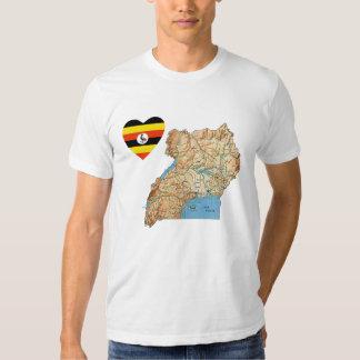 Corazón de la bandera de Uganda y camiseta del Polera