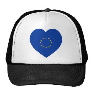 Corazón de la bandera de unión europea gorras
