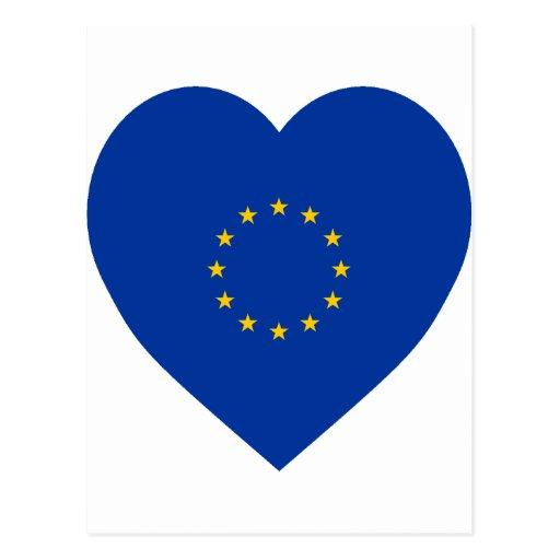 Corazón de la bandera de unión europea postal