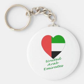 Corazón de la bandera de United Arab Emirates Llavero Redondo Tipo Pin