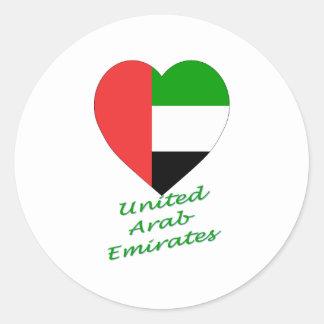 Corazón de la bandera de United Arab Emirates Pegatina Redonda