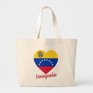 Corazón de la bandera de Venezuela Bolsa Tela Grande