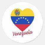Corazón de la bandera de Venezuela Pegatina Redonda