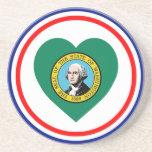 Corazón de la bandera de Washington Posavasos Para Bebidas