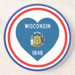 Corazón de la bandera de Wisconsin Posavasos Personalizados