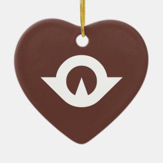 Corazón de la bandera de Yamaguchi Adorno De Cerámica En Forma De Corazón
