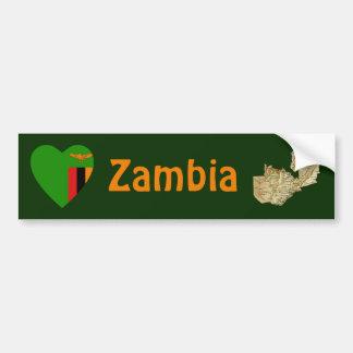 Corazón de la bandera de Zambia + Pegatina para el Pegatina De Parachoque