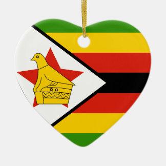 Corazón de la bandera de Zimbabwe Adorno Navideño De Cerámica En Forma De Corazón