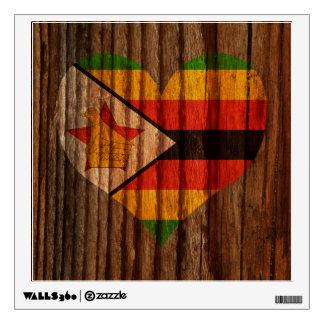 Corazón de la bandera de Zimbabwe en el tema de