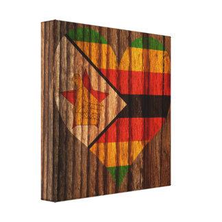 Corazón de la bandera de Zimbabwe en el tema de Impresiones En Lona Estiradas