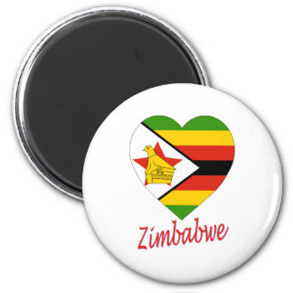 Corazón de la bandera de Zimbabwe Imán Redondo 5 Cm