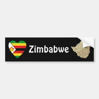 Corazón de la bandera de Zimbabwe + Pegatina para  Pegatina Para Auto