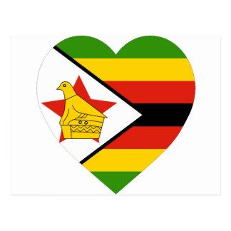 Corazón de la bandera de Zimbabwe Postales