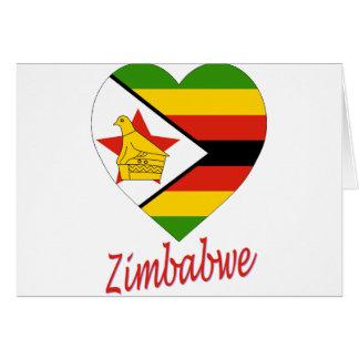 Corazón de la bandera de Zimbabwe Tarjeta De Felicitación