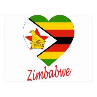Corazón de la bandera de Zimbabwe Tarjetas Postales