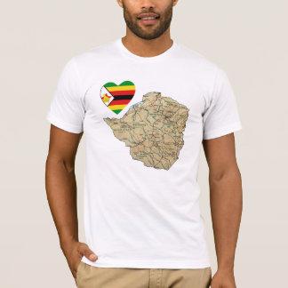 Corazón de la bandera de Zimbabwe y camiseta del