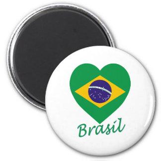 Corazón de la bandera del Brasil Imán Redondo 5 Cm