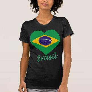 Corazón de la bandera del Brasil Camisetas