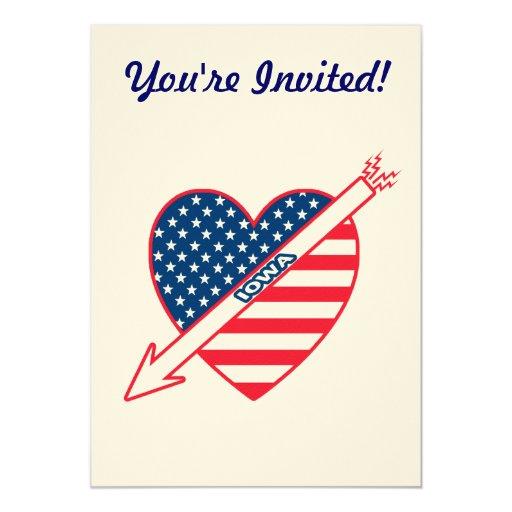 Corazón de la bandera del patriota de Iowa Invitacion Personalizada