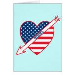Corazón de la bandera del patriota de Iowa Felicitaciones