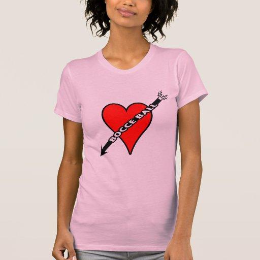 Corazón de la bola de Bocce T-shirts