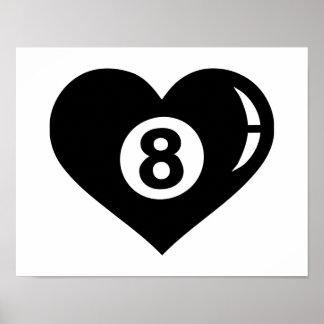 Corazón de la bola de los billares ocho impresiones