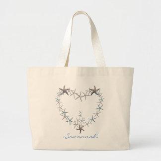 Corazón de la bolsa de asas personalizada estrella