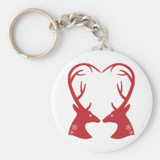 Corazón de la cabeza de los ciervos del navidad llaveros