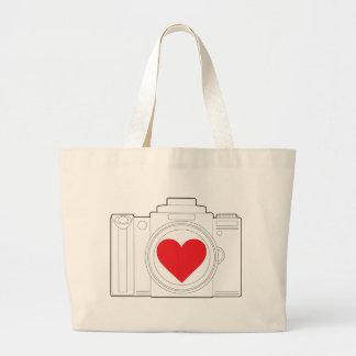 Corazón de la cámara bolsa tela grande