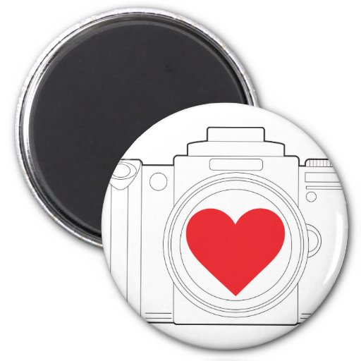 Corazón de la cámara imán redondo 5 cm