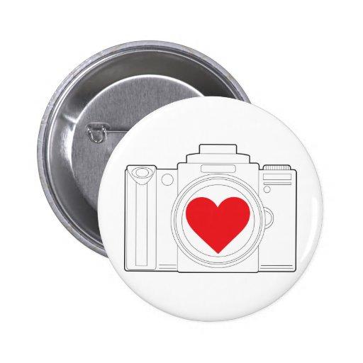 Corazón de la cámara pin redondo 5 cm