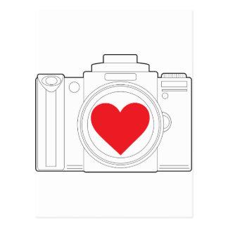 Corazón de la cámara tarjeta postal