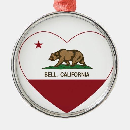 corazón de la campana de la bandera de California Adorno Navideño Redondo De Metal