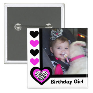 Corazón de la cebra: Chica del cumpleaños: Botón d Pin Cuadrado