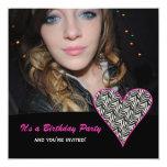Corazón de la cebra: Invitaciones del fiesta de la Invitación Personalizada