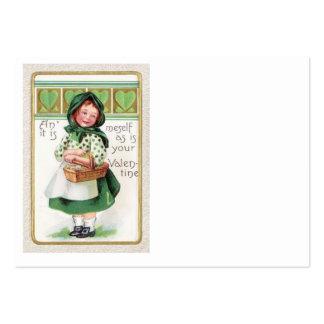 Corazón de la cesta del chica del Victorian Tarjetas De Visita Grandes