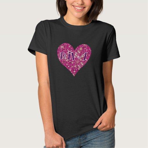 Corazón de la chispa del rosa de la diva tee shirt