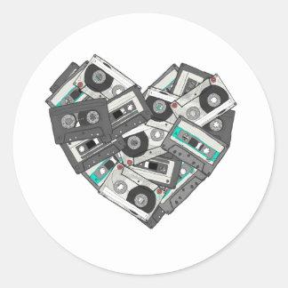 Corazón de la cinta de casete de los sentimientos etiquetas redondas
